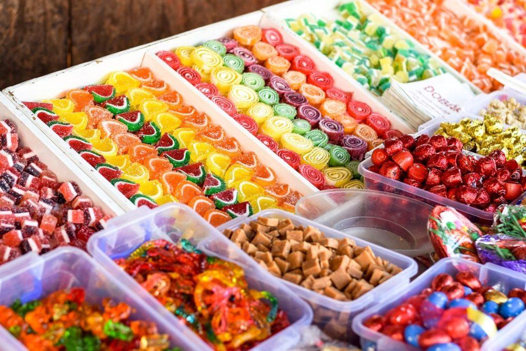 Süßigkeiten mit viel Zucker